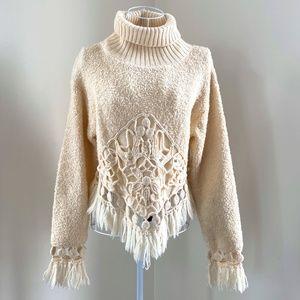 Vintage Sue Wong Knit Asymmetrical Fringe Sweater